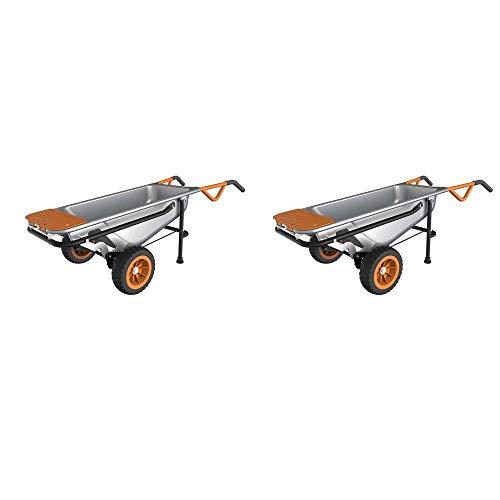 WORX Aerocart Multifunction Wheelbarrow Dolly Cart Garden Carrier Cart (2 Pack)