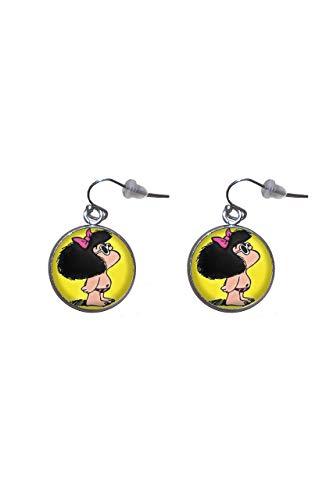 Pendientes de colgar de Acero, Diámetro 20mm, Hecho a Mano Ilustración Mafalda 2
