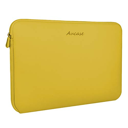 Aucase Laptop Sleeve, Thickest Lightest Water Resistant Neoprene Protective Laptop Case Bag for Men and Women (13-14 inch, Ginger Yellow)