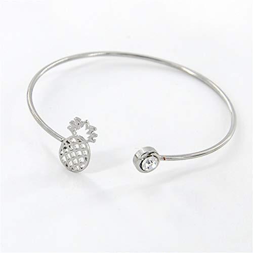 QWERST Bracelet Frauen Mode Schmuck Einstellbare Geöffnete Manschette Armreifen Ananas Charme Bracelets, Silber