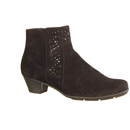 Gabor dameslaarzen 95630-87 zwart - gevoerde laarzen - damesschoenen modieuze laarzen/boots, zwart, leer (fluweelchevreau), hak hoogte: 35 mm zwart 580238