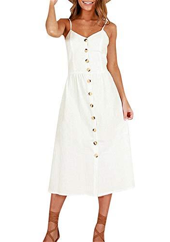 EFOFEI Vestido Midi para mujer con bolsillos, hombros descubiertos, vestido de playa sin espalda, vestido de verano para fiestas, casual 0861 blanco L