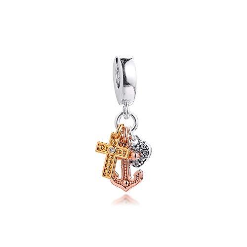 LIJIAN DIY 925 Sterling Jewelry Charm Beads Cruz De Triple Tono, Corazón, Ancla Colgante Haz Originales Pandora Collares Pulseras Y Tobilleras Regalos para Mujeres
