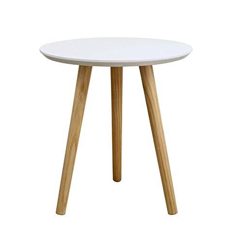 Möbel Dekoration Massivholz Couchtisch Kleiner runder Tisch Couchtisch Nordic Sofa Seite Einfacher Balkon Lässiger Beistelltisch Weiß Tischplatte Weiß Gelb 40x42cm