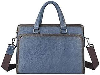 حقيبة ظهر Chliuchihjklstb ، حقائب عمل للرجال ، حقائب يد من جلد البقر ، حقائب الكتف رسول (اللون: أزرق)