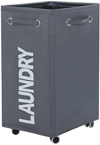 ALINK Cesto plegable para la colada con ruedas, cesta grande con ruedas para ropa sucia con cesta de almacenamiento