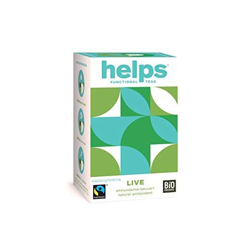 HELPS INFUSIONES - Infusión Antioxidante De Té Verde Y Hierbabuena. Termogénica. Helps Live. Caja De 16 Bolsitas