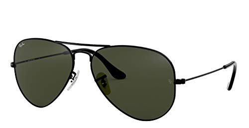Ray-Ban Original Piloten Sonnenbrille Aviator RB3025 (Rahmen: Black/Gläser: G15 Dunkel Grau-Grün)