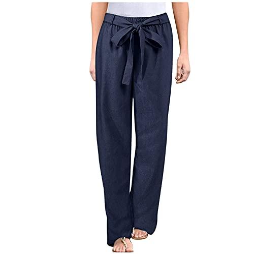 Ghemdilmn Clásicos pantalones de cordón para mujer, cintura alta, con bolsillos, cómodos, sueltos, anchos, holgados, ajustados, informales, de algodón y lino, A Dark Blue, XXXXL