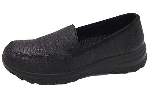 OrtoMed Damen Slipper Halbschuhe mit flexiblen Stretch Material Schwarz, EU 40