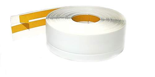Weichsockelleiste PVC 50x20mm - 1 Meter, selbstklebend Eckleiste, flexible Bodenleiste, Premium Weich Sockelleiste (Weiss)