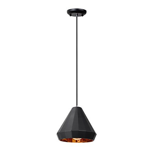MAYKKE Alta Mesa Pendant Light Modern Geometric Diamond Painted Glass Hanging Adjustable Ceiling Lamp Fixture for Kitchen, Dining Room, etc. Matte Black with Metallic Gold Lining, ZSA1020101 - - Amazon.com