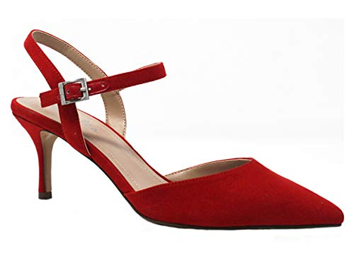 CHARLES DAVID Charles Ailey Candy Red Ankle Buckle Stiletto Heeled Pump Shoes (8.5, Candy Red)