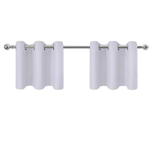 "Aquazolax White Blackout Kitchen Valances - Blackout Grommet Tier Curtain Panels for Bedroom/Basement Windows, 42"" Width x 18"" Length, Greyish White, 2 Pieces"