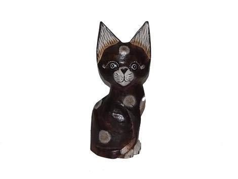 Chat en bois, Bois dense, marron