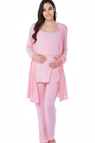 Smallshow Women's Maternity Nursing Pajamas Set 3 Pcs Cardigan/Breastfeeding Top/Pajama Pant,Medium,Pink