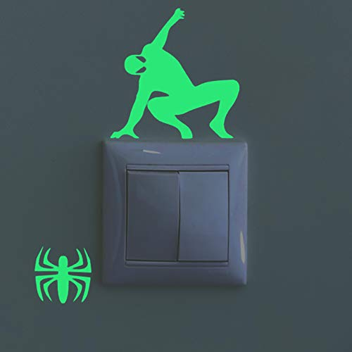 Pegatinas de pared BRILLAN EN LA OSCURIDAD. Vinilo decorativo para enchufe o interruptor de SPIDERMAN. Pegatinas FLUORESCENTES. Láminas luminosas