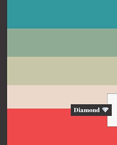 CUADERNO ESCOLAR: Diseño moderno, cuaderno de hoja cuadriculada DIAMOND |  Tamaño especial para la mochila o cartera del colegio  | 120 páginas de ... | PATRÓN FRANJAS DE COLORES ELEGANTES.