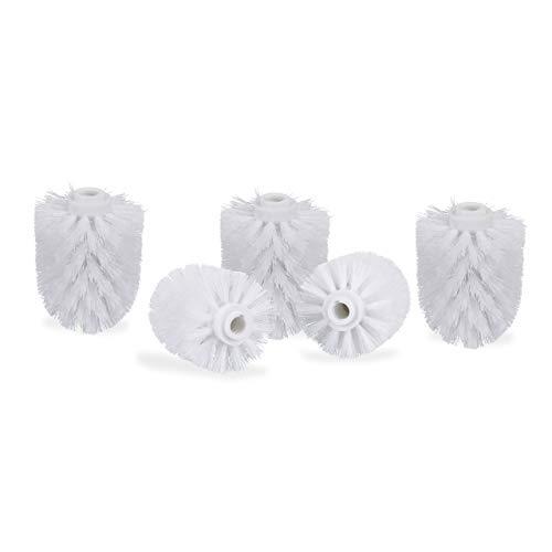 Relaxdays WC Bürstenkopf im 5er Set, lose Toilettenbürsten mit Gewinde 12 mm, Ersatzbürstenkopf Durchmesser 8 cm, weiß