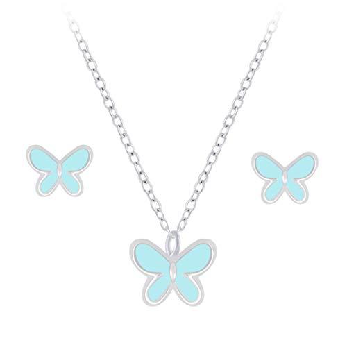 Laimons Pendientes de mariposa turquesa de 6 mm y cadena de 36 cm más 5 cm de extensión con colgante de insectos de 6 mm y turquesa de plata de ley 925