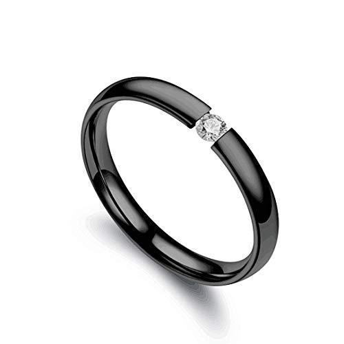 DJDLNK verlovingsringen met kubische zirkonia, minimalistisch voor dames, elegant, ring van roestvrij staal, voor heren, zilveren sieraden