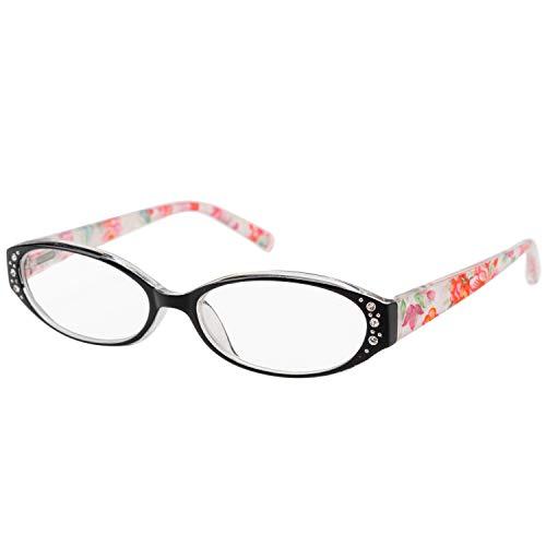 エール 老眼鏡 2.0 度数 レディース プラスチックフレーム バネ蝶番 ブラック 花柄 AP116S