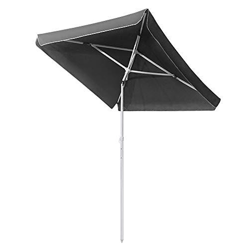 LZQ Rechteckig Sonnenschirm 185 x 140 cm Marktschirm Gartenschirm Dunkelgrau UV50+ Höhenverstellbar
