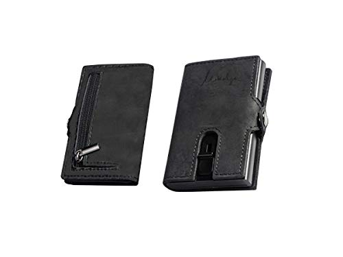 Mikalzo® Kreditkartenetui mit Geldklammer und Münzfach, Geldbörse, Portemonnaie, Kartenetui RFID Schutz, Slim Wallet, Unisex (Schwarz)