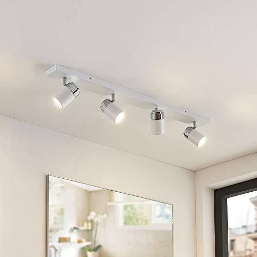 Lindby Strahler 'Kardo' dimmbar (Modern) in Weiß aus Metall u.a. für Badezimmer (4 flammig, GU10, A++) - Deckenlampe, Deckenleuchte, Lampe, Spot, Badezimmerleuchte