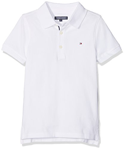 Tommy Hilfiger Jungen AME Hilfiger Slim FIT Polo S/S Poloshirt, Weiß (Bright White 123), 128