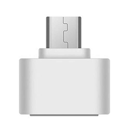 JJZXD Tipo-c OTG a USB 2.0 OTG Cable Micro a USB 2.0 Adaptador Hembra Adaptador convertidor USB, Adecuado para teléfono móvil Tablet PC (Color : White)