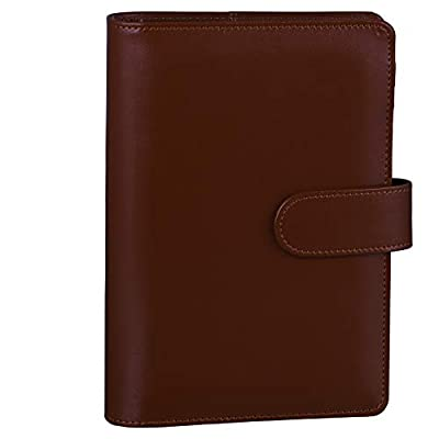 Antner A6 PU Leather Notebook Binder Refillable 6 Ring Binder for A6 Filler Paper, Loose Leaf Personal Planner Binder Cover with Magnetic Buckle Closure, Brown