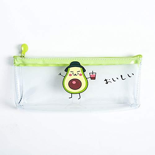 Alician - Estuche para lápices de aguacate transparente con cremallera de PVC para bolígrafos, para la escuela, artículos de papelería y herramientas de suministros, color Sombrero aguacate as shown