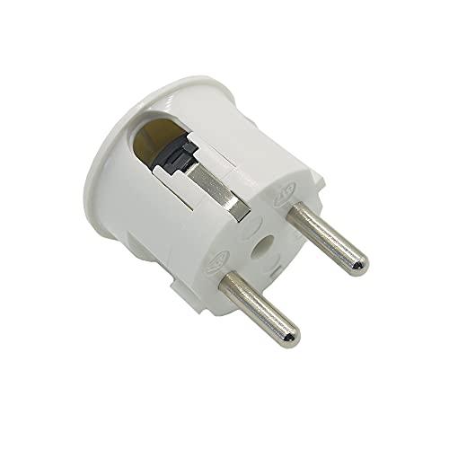 Conector en ángulo blanco con protección de contacto, tipo F, resina de urea n.º 617, conector Schuko, aspecto de baquelita