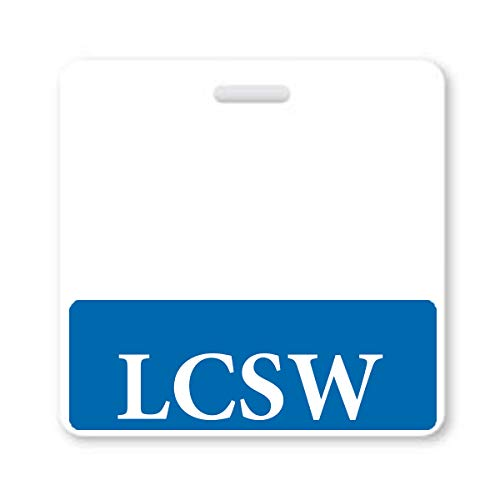 LCSW Badge Buddy - Heavy Duty Horizontal Badge Buddies for Social Workers - Spill & Tear Proof Cards - 2 Sided USA Printed Quick Role Identifier ID Tag Backer by Specialist ID (5 Pack, Blue)