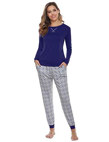 Aibrou Pijamas Invierno Mujer Algodon Mangas Larga Conjunto de Pijama de Mujer Pantalon Largo 2 Piezas Talla Grande