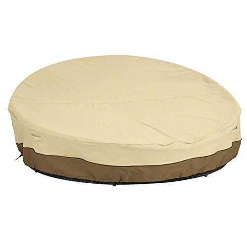 ZZX Lounge Sofa Abdeckung, 210D Oxford Stoff Wasserdicht Schutzhülle für rundes Schlafsofa Loungemöbel Staubdicht Regenschutz,Beige,88 * 35inch