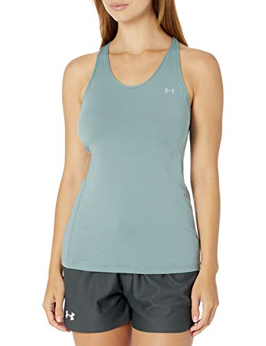 Under Armour Women's HeatGear Armour Racer Tank , Hushed Turquoise (396)/Metallic Silver , Medium