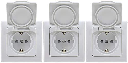 3 x DELPHI 22306 Schutzkontakt-Steckdose IP44 inkl.Rahmen weiß