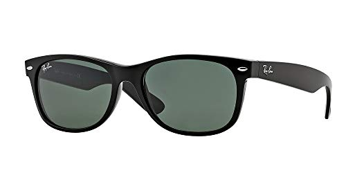 Ray-Ban RB2132 New Wayfarer Classic - Gafas de sol unisex (marco negro, lente verde 901 l, tamaño mediano)