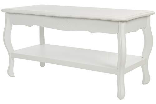 elbmöbel Tisch Couchtisch Beistelltisch in weiß rund hoch Holz Antik Barock Landhaus Cottage B88 x H44 x T42 cm (B88 x H44 x T42, Holz)