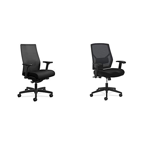HON Ignition 2.0 Mid-Back Adjustable Lumbar Work Mesh Computer Chair for Office Desk (Black Fabric) & Crio High-Back Task Chair - Fabric Mesh Back Computer Chair for Office Desk, in Black (HVL581)