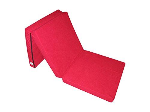 Matelas lit futon pliable pliant 195 x 65 x 10 cm ( 3100-Rouge )