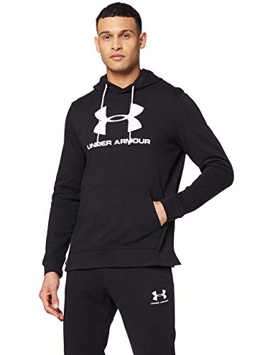 Under Armour Sportstyle Terry Logo Hoodie, Sudadera con Capucha Hombre, Negro (Black / White), L