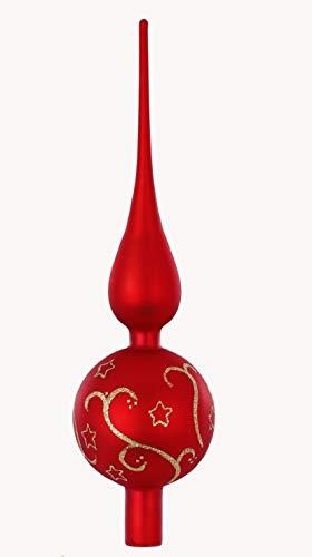 MAGIC Christbaumspitze Ornament Glas 32cm Ornament Baumspitze Baumschmuck Weihnachtsbaumspitze Baumspitze Geschenk Germany Spitze Farbe: rot matt