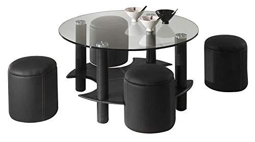 Eva - Mesa baja de diseño moderno con 4 pufs – Mejora tu salón con esta mesa baja de moda [calidad]