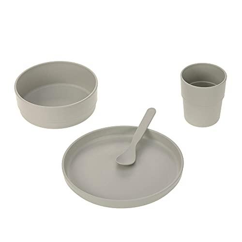 LÄSSIG Set di stoviglie per bambini (piatto, ciotola, bicchiere, cucchiaio), tinta unita grigio caldo