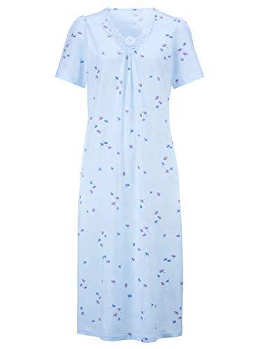 Harmony Damen Nachthemden Halbarm in rosé/bleu aus Baumwolle mit Spitzenmotiv