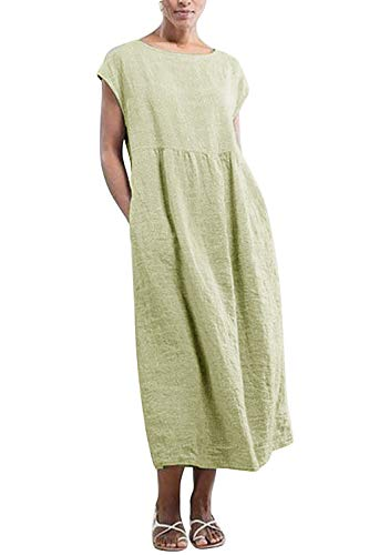 Yidarton Kleider Damen Lang Sommer Elegant Strandkleid Kurzarm Rundhalsausschnitt Casual Lose Maxi Kleider mit Taschen (Grün, XL)