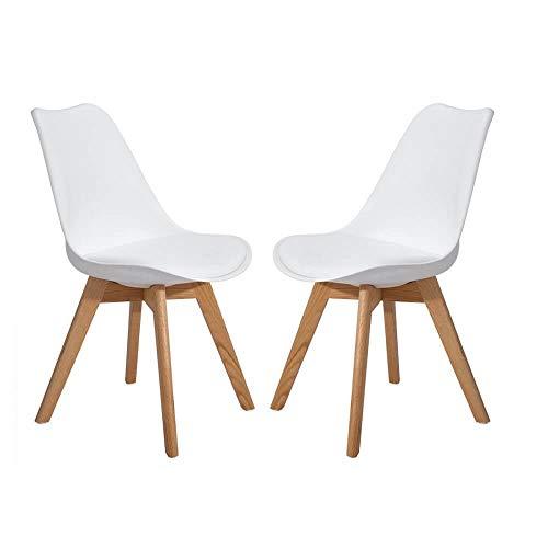 Milani Home s.r.l.s. Set di 2 Sedie di Design Moderne in Polipropilene Bianco E Legno Massello di Faggio per Sala da Pranzo Locale Bar Ristorante
